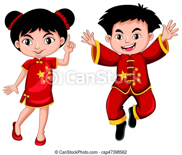 chinese boy and girl in red costume illustration clip art vector rh canstockphoto com chinese clipart black and white chinese clip art symbols