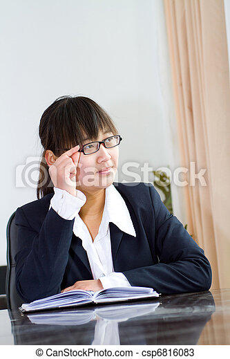 chinese business woman in office - csp6816083