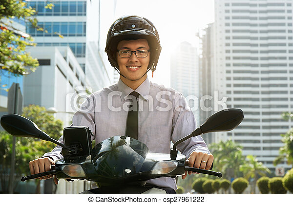 Chinese Businessman Commuter Using Scooter Motorcycle In City - csp27961222