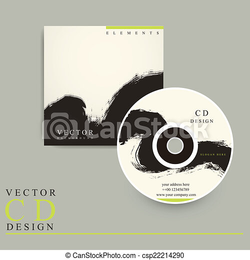 Chinese calligraphy style cd cover design template .