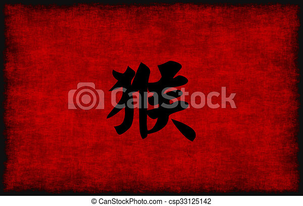Chinese Calligraphy Symbol For Monkey In Red And Black
