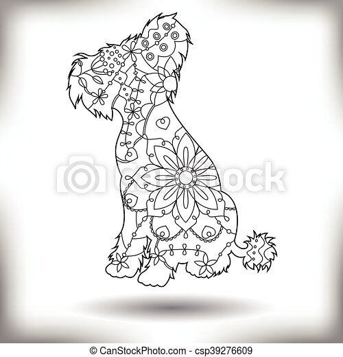 Chinese crested dog painted silhouette isolated on white - csp39276609