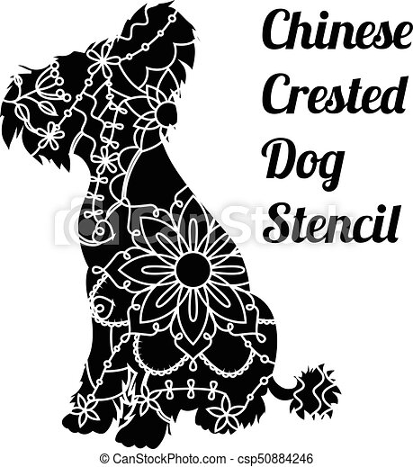 Chinese crested dog stencil - csp50884246
