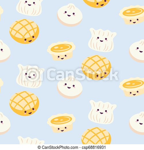 Chinese Cuisine Cartoon Style Food Pattern Vector With Egg Tart And Dim Sum Light Blue Background Chinese Cuisine Cartoon