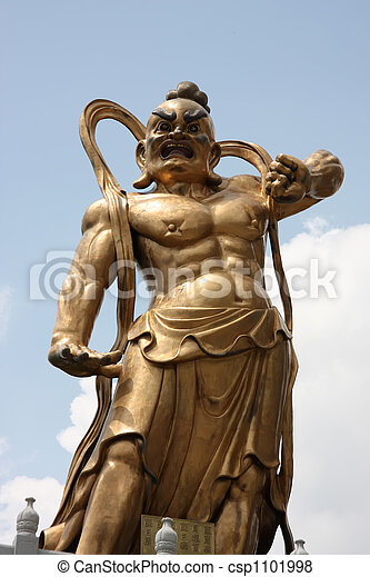 chinese deity chinese temple statue of muscular warrior deity