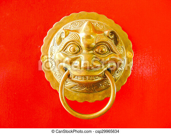 Chinese door knob on red door background stock photos - Search ...