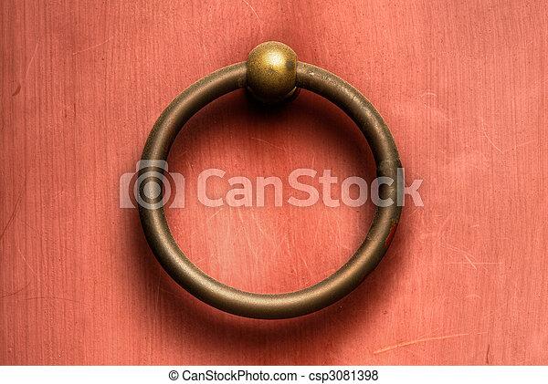 Chinese door knob - csp3081398 & Chinese door knob. Chinese traditional circle bronze door knob on wall.