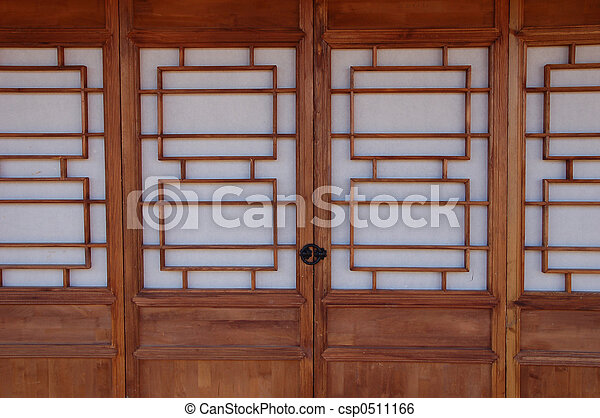Chinese Doors - csp0511166 & Chinese doors. Wood and paper chinese door. stock image - Search ... pezcame.com