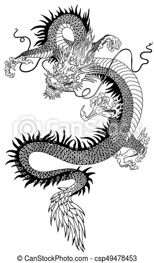 chinese dragon black white vector illustration of a chinese dragon black and white tattoo. Black Bedroom Furniture Sets. Home Design Ideas