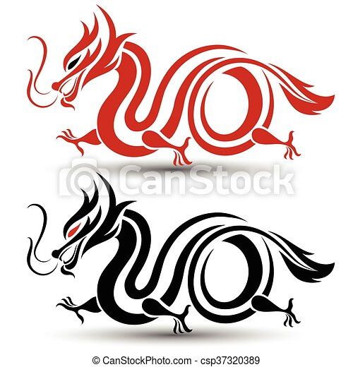 illustration of traditional chinese dragon vector vector rh canstockphoto com chinese dragon victory dance in hypixel bw chinese dragon vector circle