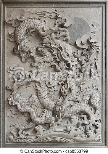 Chinese Dragon Granite Stone Carving - csp8563799