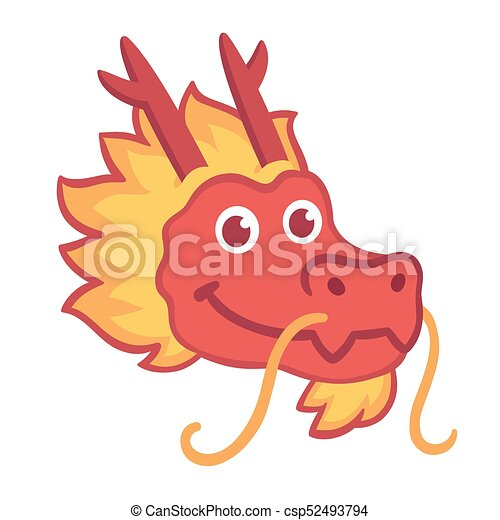 cb86e548d Red chinese dragon head icon in cute cartoon style. chinese nwe year ...