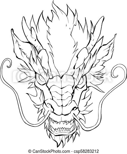 chinese dragon head hand drawn illustration of chinese dragon in