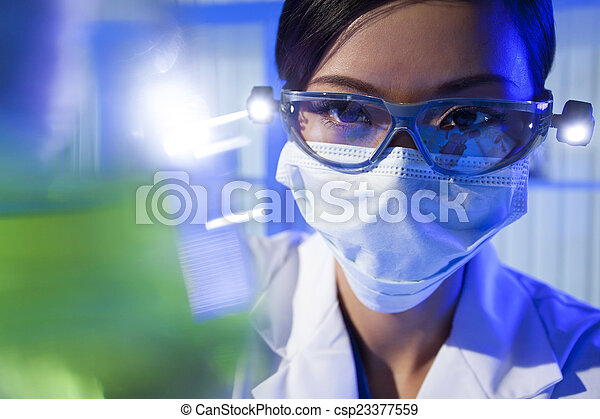 Chinese Female Woman Scientist With Green Flask In Laboratory - csp23377559