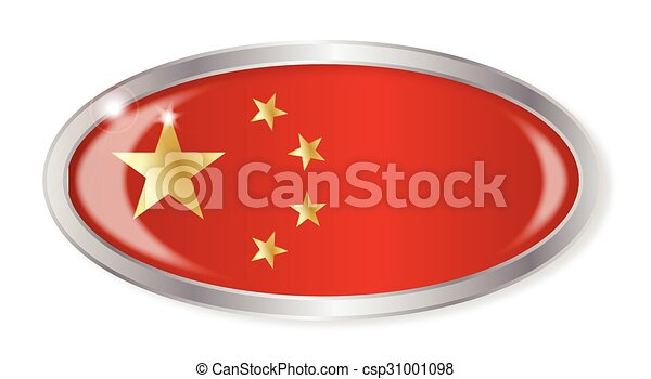 Chinese Flag Oval Button - csp31001098