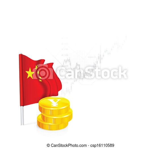 Chinese Flag with coins - csp16110589