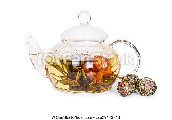 Chinese flowering tea in a glass teapot - csp29443743