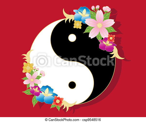 Chinese Flowers An Illustration Of A Chinese Yinyang Symbol In