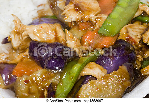 chinese food chicken with eggplant mixed vegetables - csp1858997