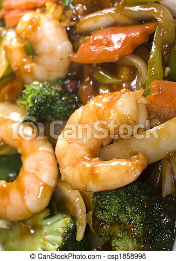 chinese food jumbo shrimp mixed vegetables - csp1858998
