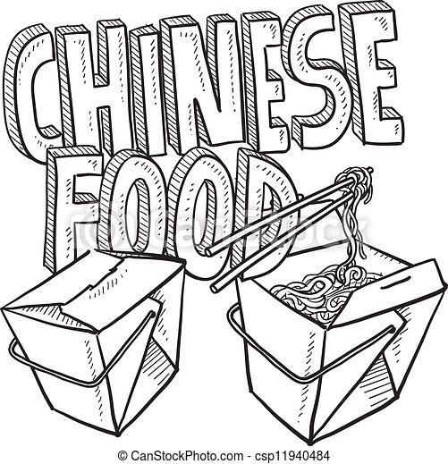 Chinese food sketch - csp11940484