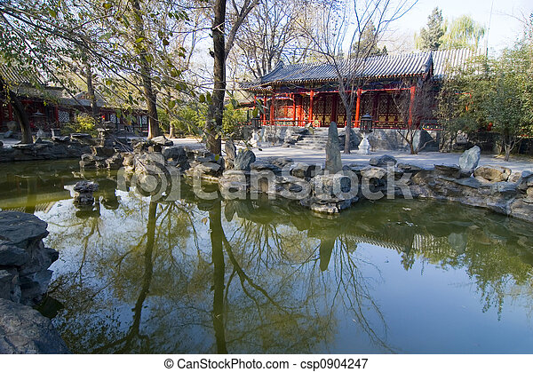 Chinese garden ii An ancient chinese garden with pond in picture