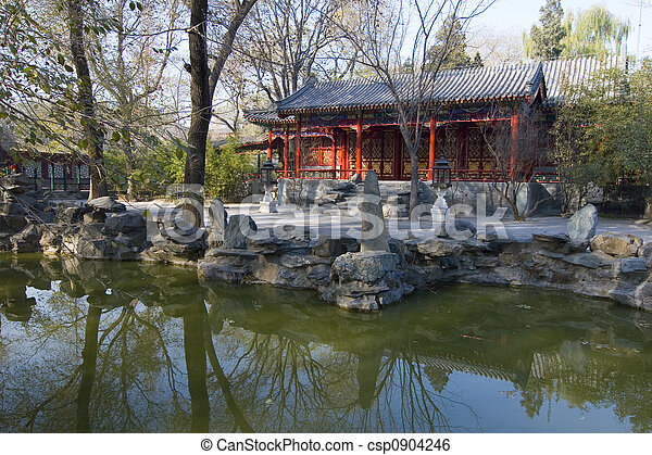 Chinese garden iii An ancient chinese garden with pond in stock
