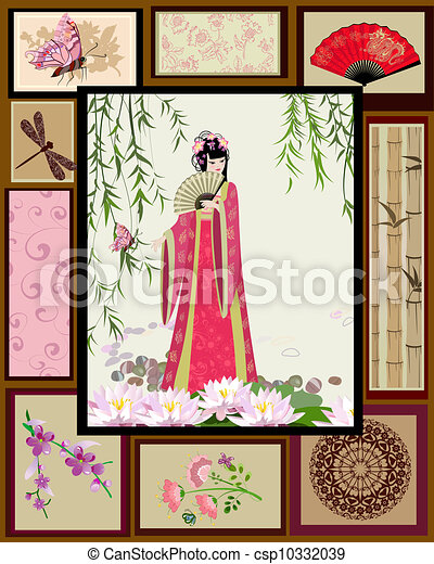 Chinese girl national patterns - csp10332039