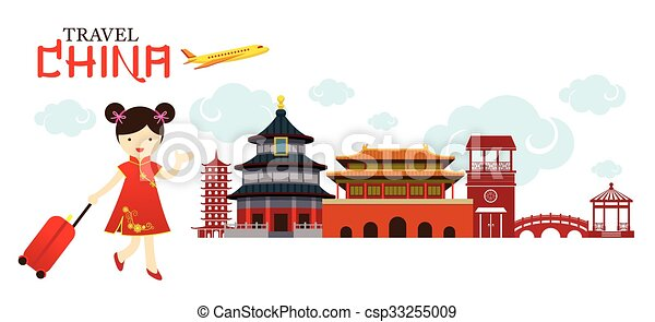 chinese girl travel china city tour vacation map