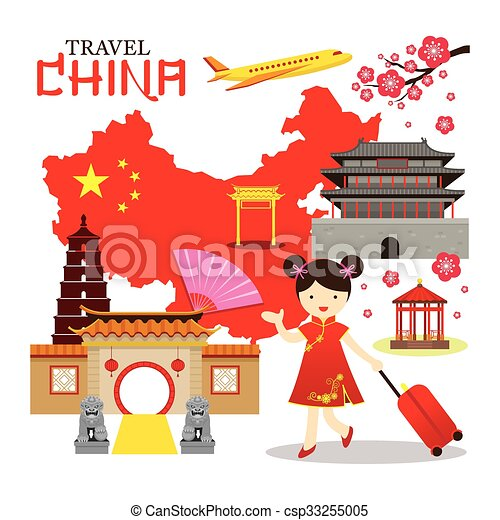chinese girl travel china tour vacation map destination vector rh canstockphoto com china clipart map china clipart images