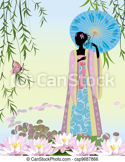 Chinese Girl with an umbrella the pond - csp9687866