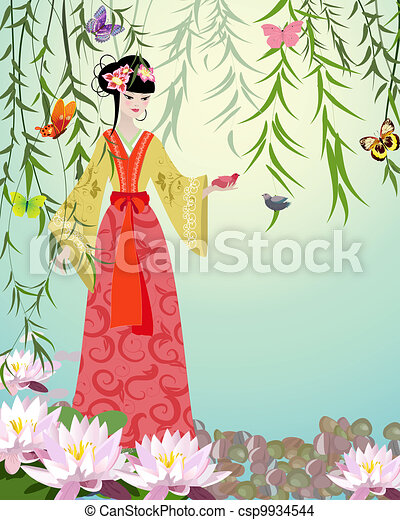 Chinese Girl with birds - csp9934544