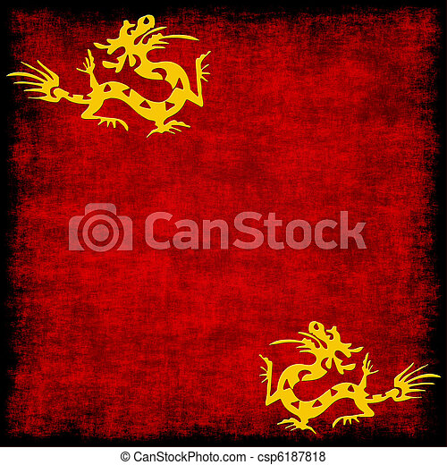 chinese golden dragon on grungy red - csp6187818
