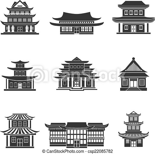 Chinese House Icons Black Chinese House Ancient Temples Traditional