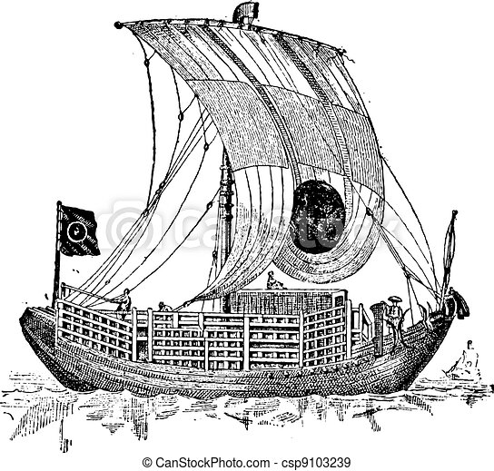 Chinese junk, an ancient sailing vessel, vintage engraving. - csp9103239