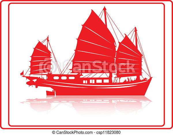 Chinese junk boat. A chinese junk boat in red silhouette.