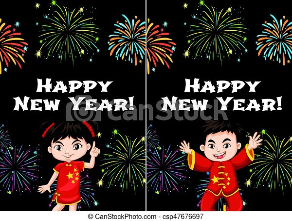 Chinese kids and happy new year card templates - csp47676697
