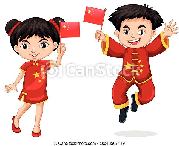 Chinese kids holding flag - csp48507119