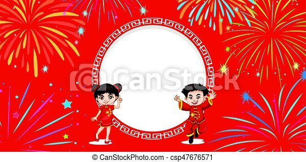 Chinese kids on red background with fireworks - csp47676571