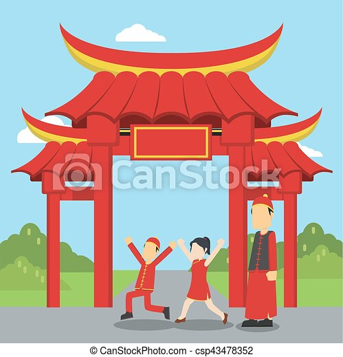 chinese kids playing infront of chinese gate - csp43478352