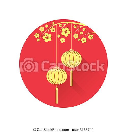 Chinese lantern and cherry blossom flat icon. vector ...