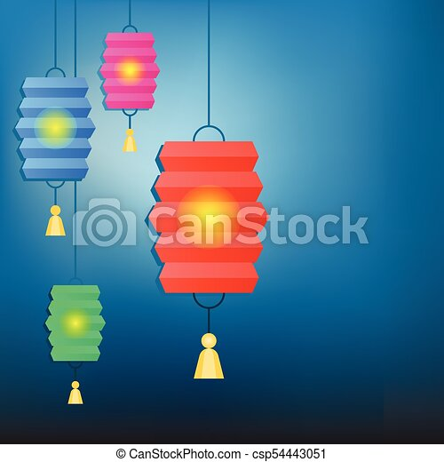 Chinese Lantern Background For New Year And Mid Autumn Festival