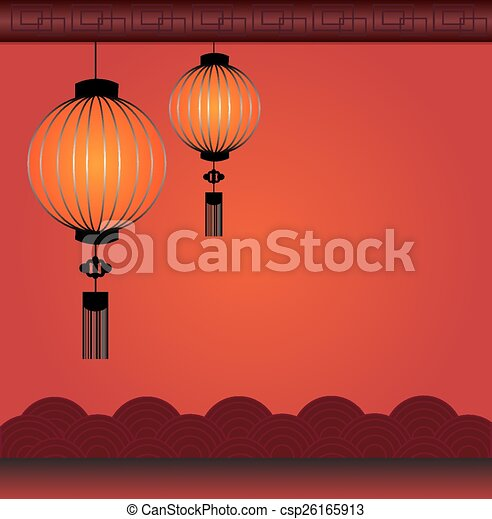 Chinese Lantern Background In Red