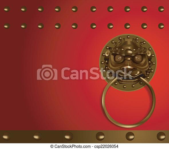Chinese Lion Head Knob Door Vector
