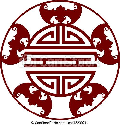 Chinese Longevity Five Blessings Symbols Illustration Chinese