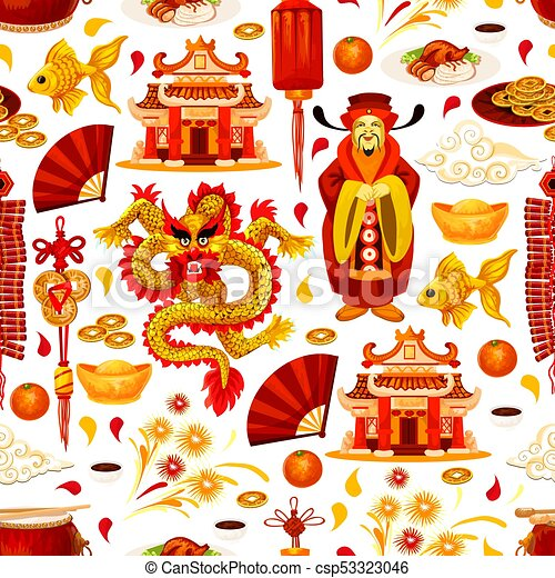 Chinese Lunar New Year Symbols Vector Pattern Chinese Lunar New
