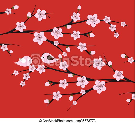 chinese lunar new year with blossom vector - Chinese Lunar New Year