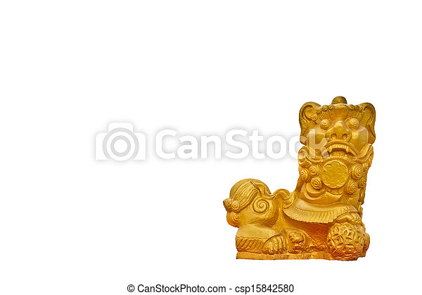Chinese Male Golen Lion Statue Male Lion With The Right Paw On A