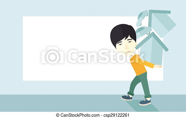 Chinese man carrying house and car - csp29122261