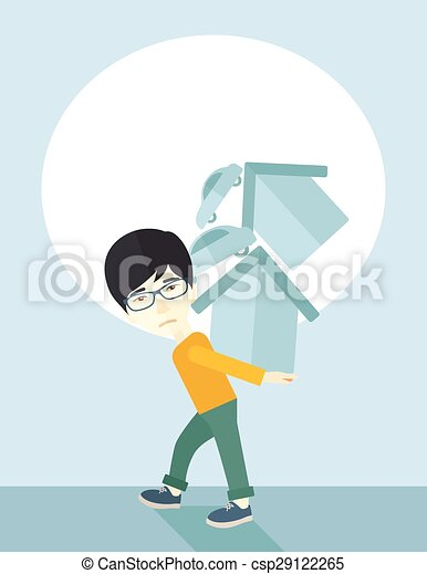 Chinese man carrying house and car - csp29122265